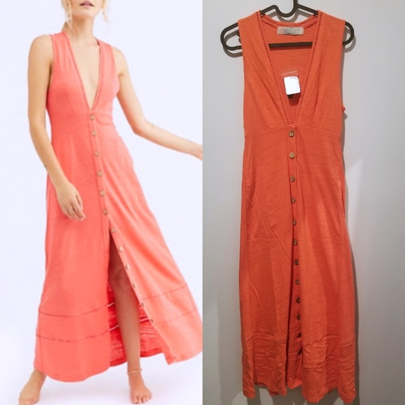 Free People Dresses & Skirts - FREE PEOPLE Seaport Plunge Coral Midi Dress